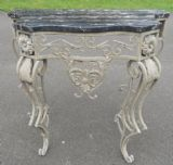 Marble Top Metal Base Console Table